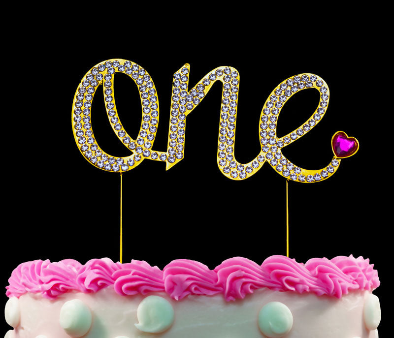 Baby Girl First Birthday Gold One Cake Topper with Pink Heart 1st Birthday Cake Decorations