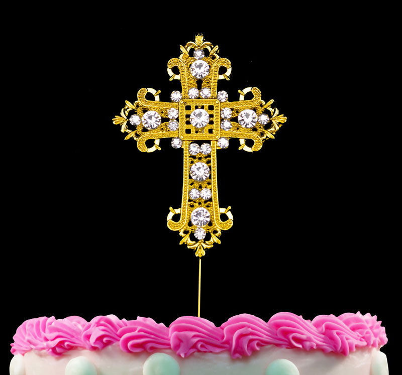 Cross Gold Cake Toppers Decoration for Wedding Religious Baptism Christening First Communion Confirmation