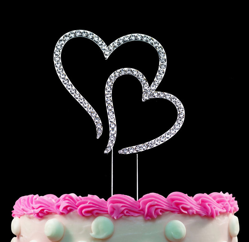 Elegant Double Hearts Cake Toppers Cake Decorations Silver