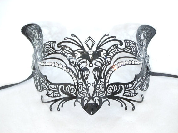 Cat Design Laser Cut Metal Black Masquerade Mask with Clear Diamonds