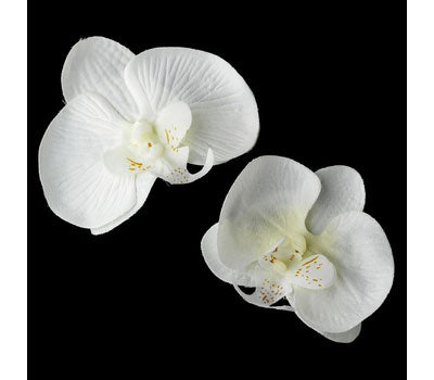 Set of 2 Snow White Orchid Bridal Flower Clips