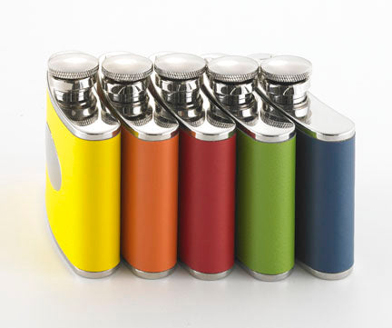 Engraved Colorful Leather Spectrum Flask (4 Colors)