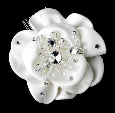Flower Bridal Hair Comb with Rhinestone & Crystal Accents