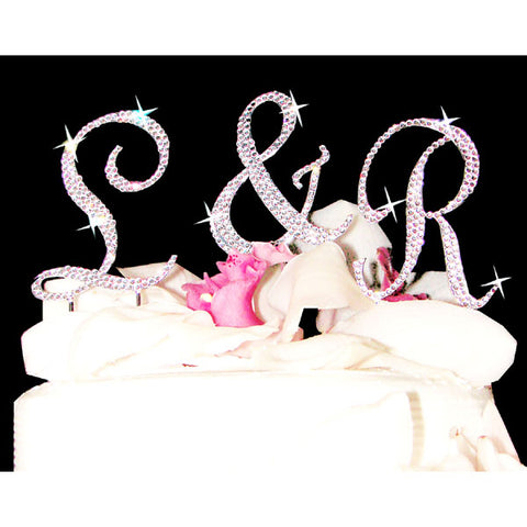 Monogram Cake Toppers Completely Covered Crystal Cake Initials Set of 3