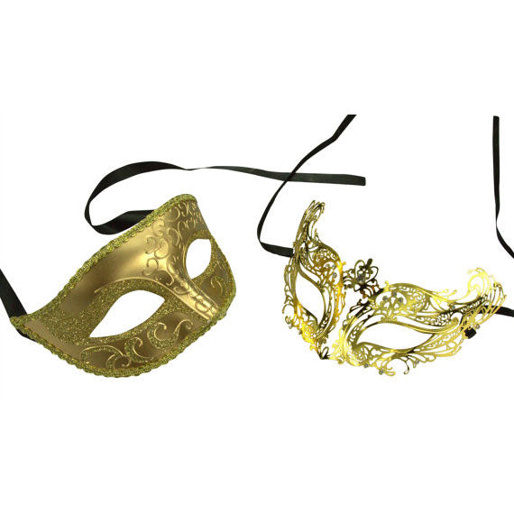 His and Hers Gold Themed Masquerade Masks Set
