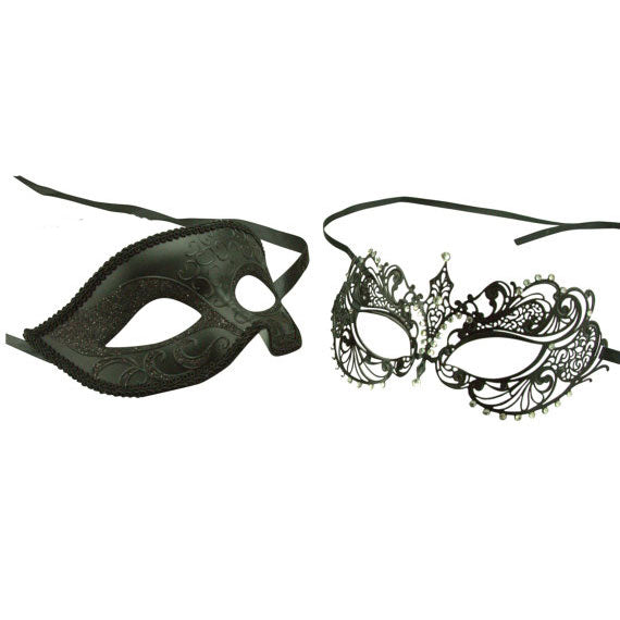 Couple Masquerade Masks His and Her Laser Cut Masks Set Black