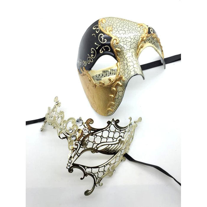 His and Her Phantom of the Opera GOLD Masquerade Masks Set