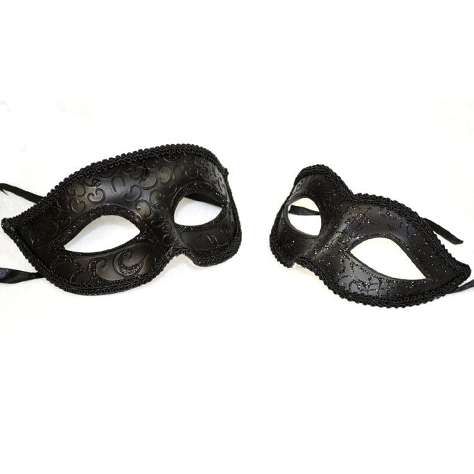 Simple Elegant His and Her Masquerade Masks Black Color Set