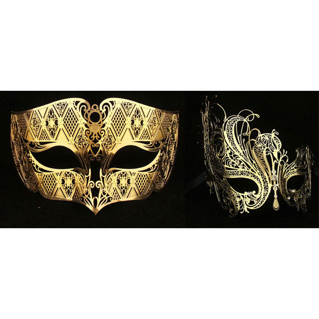 Lovers Men and Women Couple Masks - Gold Laser Cut Metal masks 2 pieces Set
