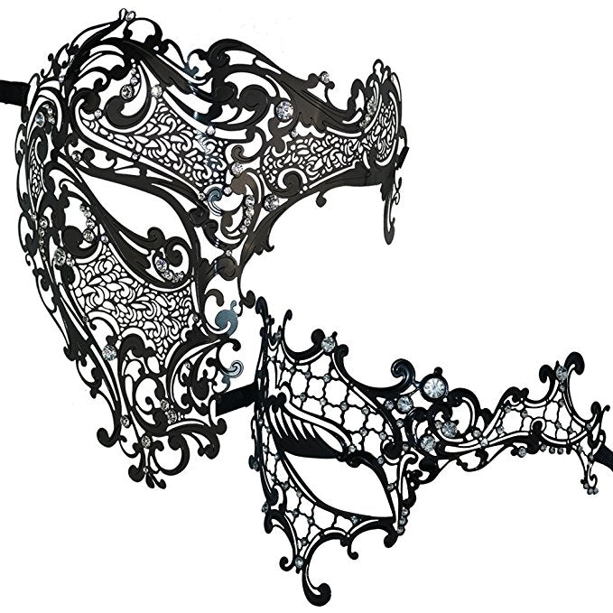 Lovers Men and Women Half Face Skull and Phantom Masquerade Masks Set Black