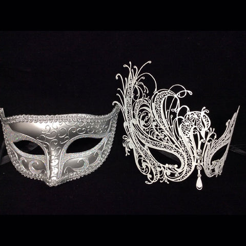 His and Her Masquerade Masks - His (Silver) & Hers(white) Venetian Masks