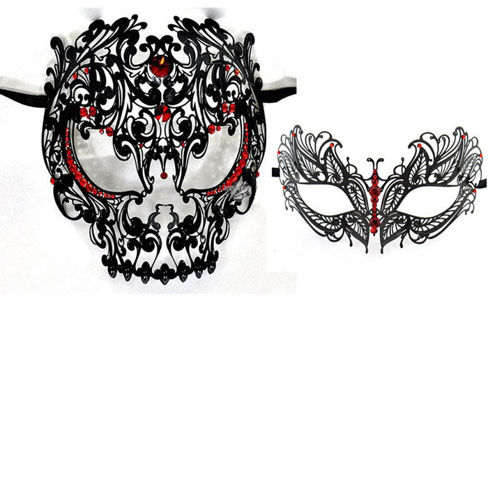 His and Hers Masquerade Masks - Skull Men and Laser Cut Women Masks with Red Crystals