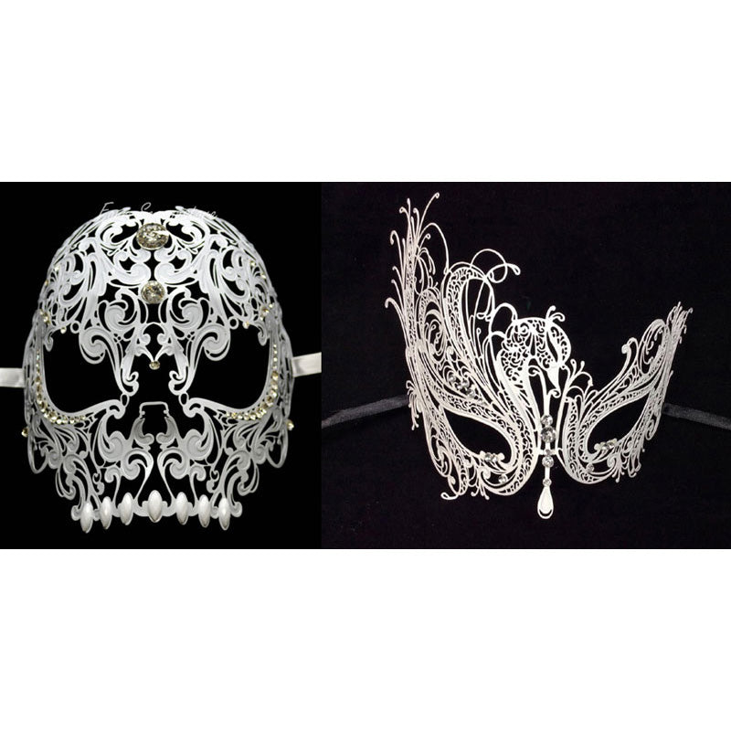 His and Her Masquerade Masks - Skull Men and Laser Cut Women Masks Set White