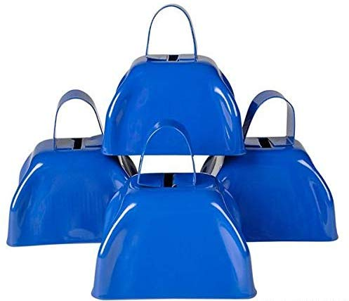 Blue Metal Cowbell 3 inches Pack of 12 Party Favors