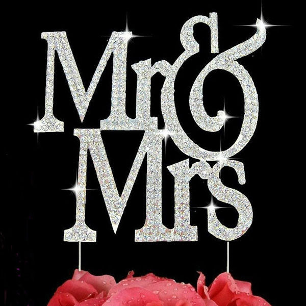 Mr & Mrs Silver Bling Crystal Cake Topper Wedding Cake Decoration Large Size