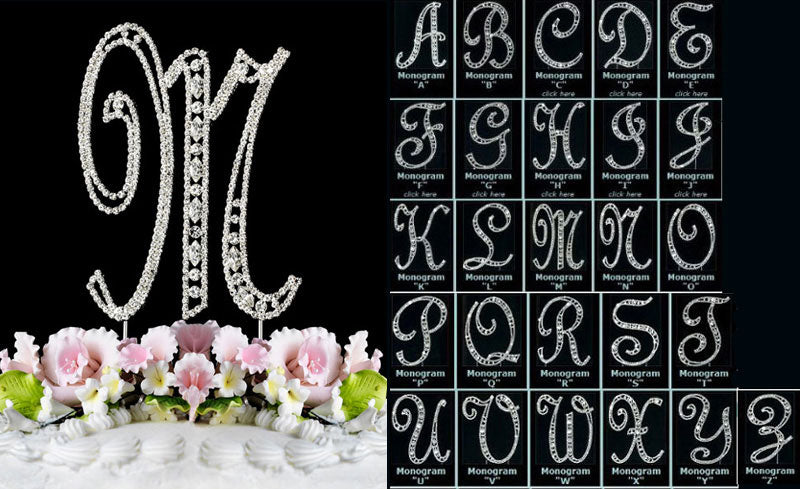 Large Silver Crystal Covered Vintage Style Monogram Cake Toppers Initial A to Z Any Letter