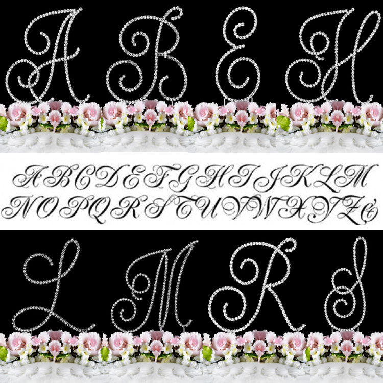 Crystal Cake Topper Swirl Script Silver Monogram Cake Toppers Initial A to Z Large 4 3/4""