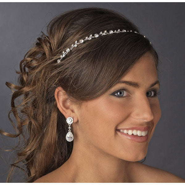 Clear Crystal Bridal Headband Silver or Gold