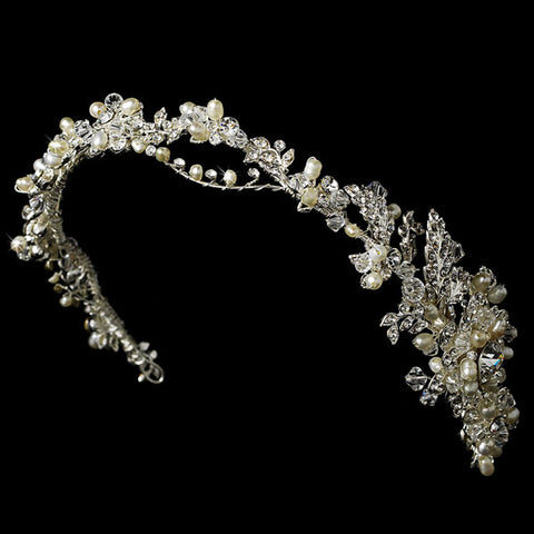 Pearl & Crystal Headband with Side Accent Hair Vine
