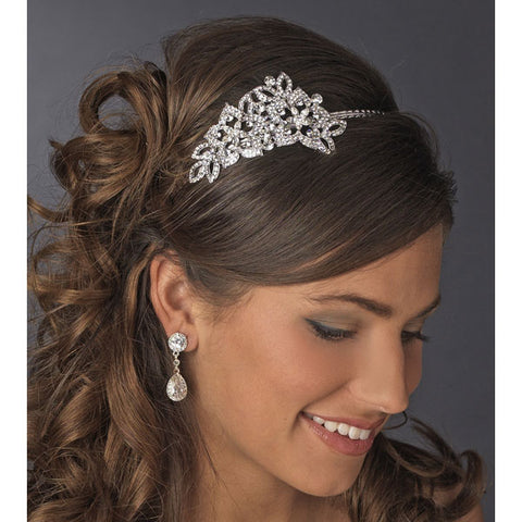 Antique Silver Crystal Headband with Side Accent