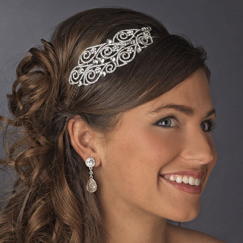 Antique Silver Headband with Crystal Side Accents