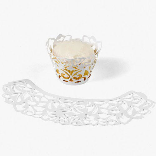 Cupcake Wrappers Laser Cut Cupcake Collars White Pack of 24