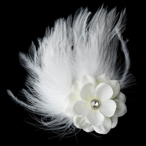 Delicate Floral Feather Fascinator Bridal Hair Clip White or Ivory