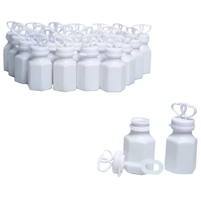 White Double Heart Bubbles Wedding Bubble Favors Set of 48