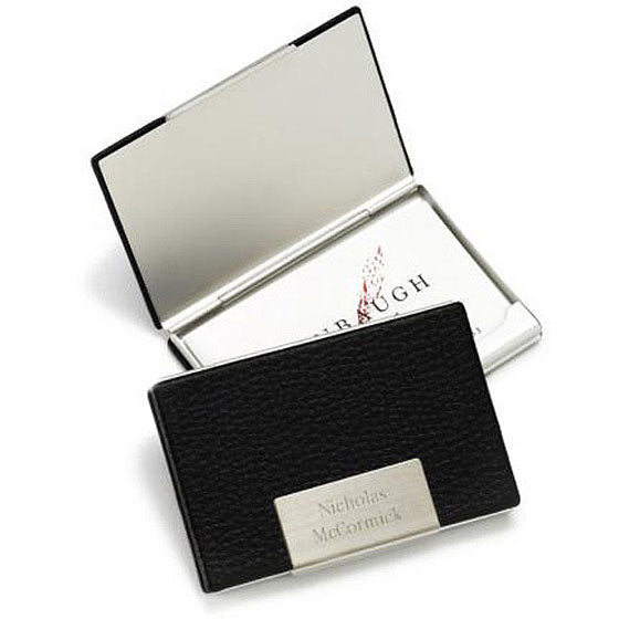 Engraved Black Leather Business Card Case