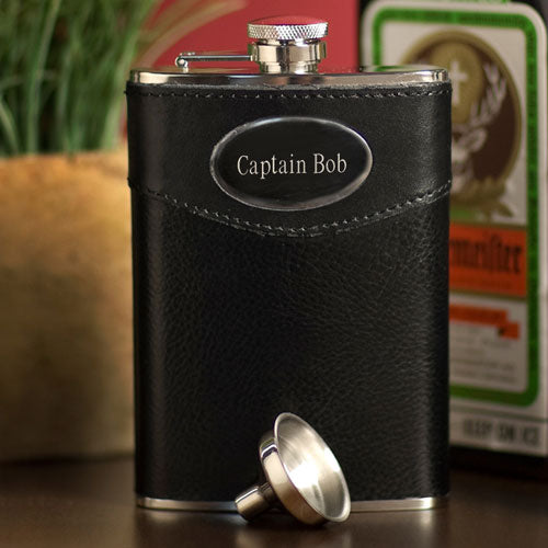 Engraved 8 oz Leather Stainless Steel Flask with Funnel