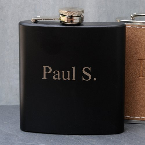 Engraved Black Matte Flask 6oz