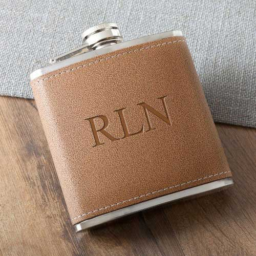 Engraved Tan Hide-Stitch Flask 6oz