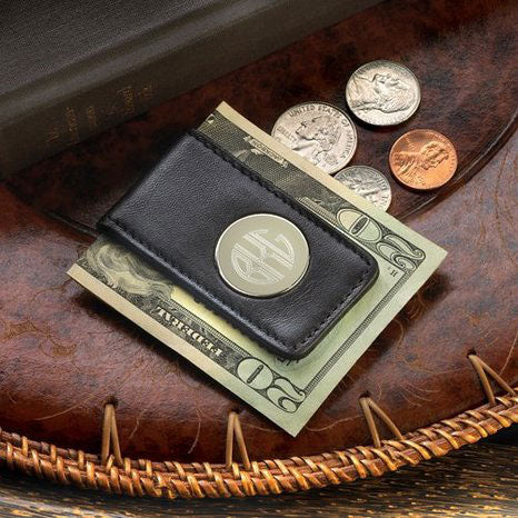 Engraved Leather Magnetic Money Clip Black