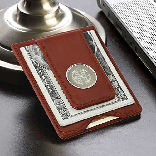 Engraved Brown Leather Wallet and Money Clip