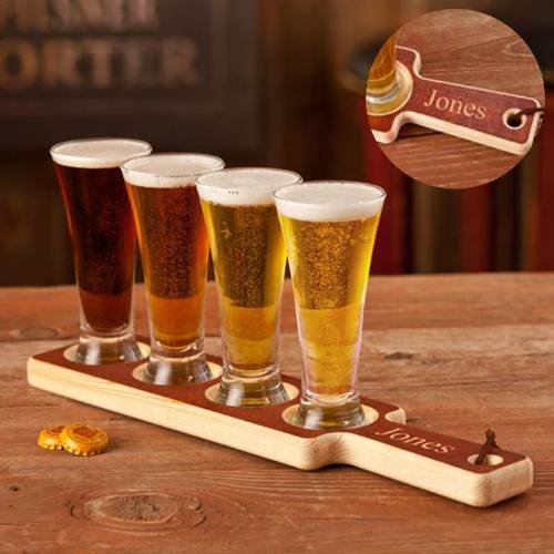 Engraved Beer Tasting Paddle and 4 Pilsner Glasses