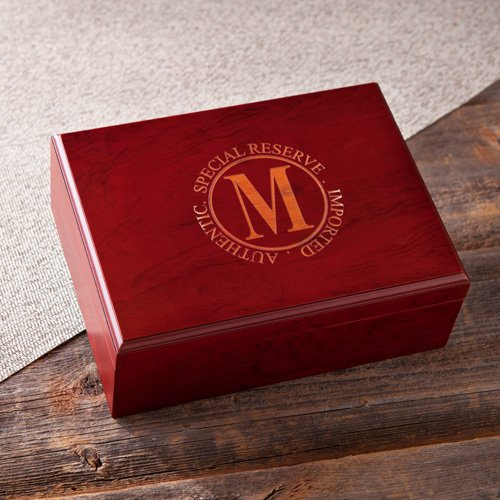 Engraved Laser Cherry Finish Humidor