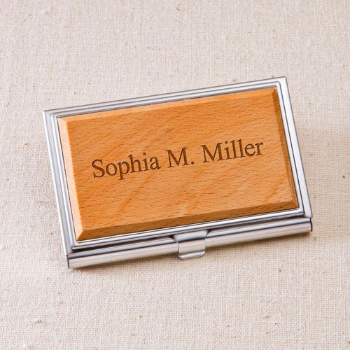 Engraved Wood Business Card Case