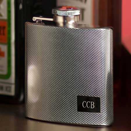 Engraved Textured 4 oz. Stainless Steel Flask