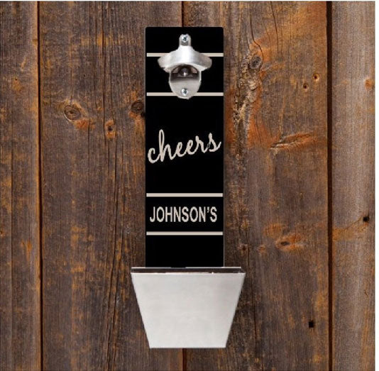 Engraved Wall Mounted Bottle Opener and Cap Catcher
