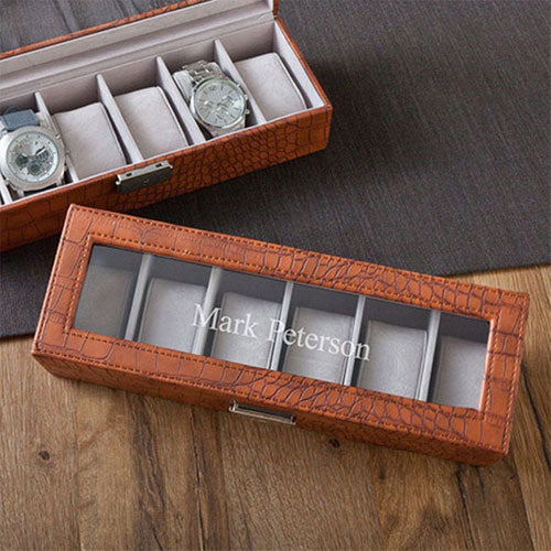 Engraved Brown Crocodile Watch Box
