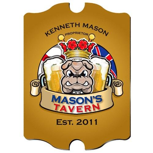 "Personalized 15.5"" Collectible Vintage Bulldog Sign"