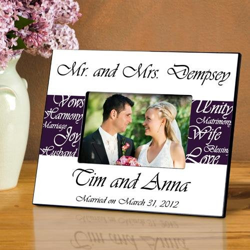 Personalized Mr. & Mrs. Wedding Frame Plum Color