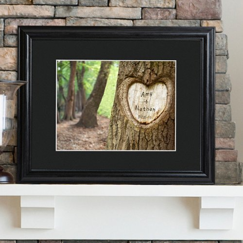 Engraved Tree of Love Print with Wood Frame