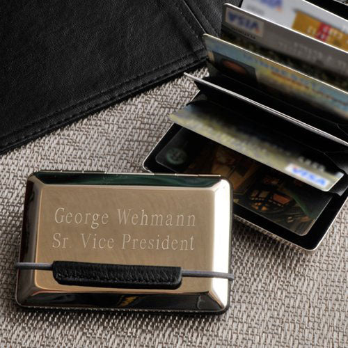 Engraved Expandable Executive Business Card Case