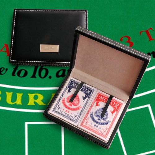 Engraved Card Sharks Playing Card Case
