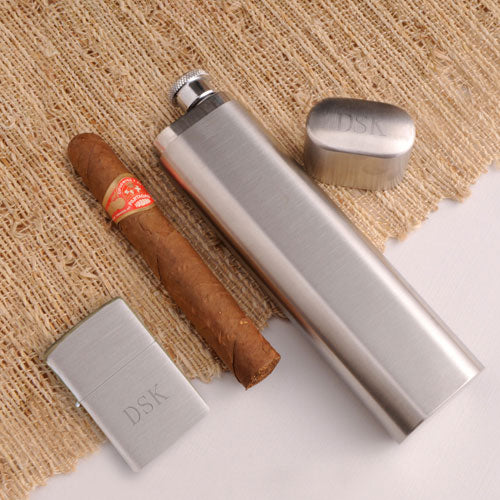Engraved Cigar Case Flask and Zippo Lighter Combo