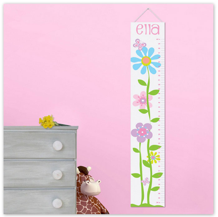 Personalized Kids Canvas Growth and Height Chart for Girls Butterflies and Flowers Design