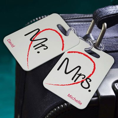 Personalized Heartstrings Luggage Tags Mr and Mrs