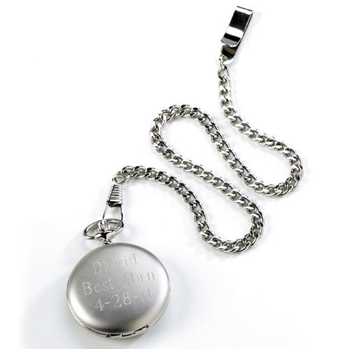 Personalized Brushed Silver Pocket Watch Gift for Man