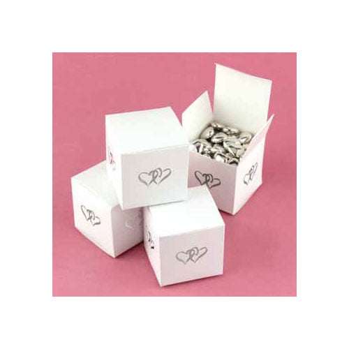White Linked at Heart Favor Boxes (Pack of 25)